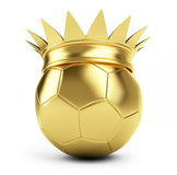 Gold soccer ball crown. King Football isolated on a white background Royalty Free Stock Image
