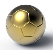 Gold soccer ball. 3D render of a golden soccer ball on a white background with shadows Royalty Free Stock Photography