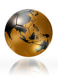 Gold soccer ball globe world map australia asia. Clipping path included Stock Image