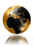 Gold soccer ball globe world map europe africa. Clipping path included Royalty Free Stock Image