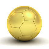 Gold soccer ball over white background with reflection and shadow Stock Images