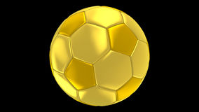 Gold soccer ball rotating alpha channel stock video