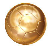 Gold soccer ball on white separated Royalty Free Stock Photography