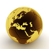 Gold soccer ball with world map Stock Images