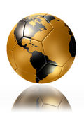Gold soccer ball with world map america Royalty Free Stock Photo