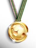 Gold soccer medal Stock Image