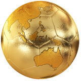 Gold soccer with world map Royalty Free Stock Photos
