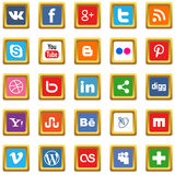 Gold social media icons Stock Photography