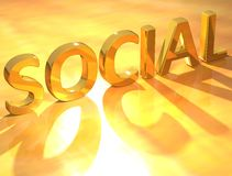 Gold Social text. Over yellow background Stock Images
