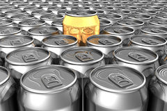 Gold soda can standing out Royalty Free Stock Images