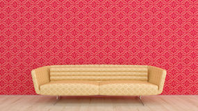 Gold sofa. In the apartment Stock Illustration
