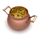 Gold soins in the bronze pot Stock Photo