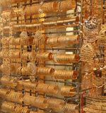 Gold souk dubai. Bracelets at gold souk in dubai Royalty Free Stock Image