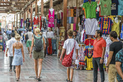 Gold Souk Dubai. Tourists in the souk in Dubai, United Arab Emirates royalty free stock photos