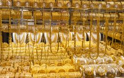 the gold souk or market in Dubai city, Deira. United Arab Emirates