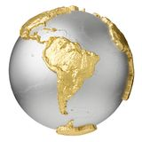 Gold South America. Gold, silver globe without water. South America. 3d rendering isolated on white background. Elements of this image furnished by NASA Stock Image