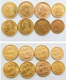 Gold sovereign coin collection 1885-1913 royalty free stock photography