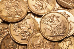 Gold sovereign coins. Background of British gold sovereign coins Stock Image