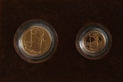 Gold Sovereign  and half Sovereign Stock Photo