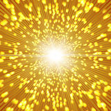 Gold sparkle background with zoom affect. Stock Image