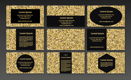Gold sparkle business cards, certificate,  voucher, banners priv Stock Photo