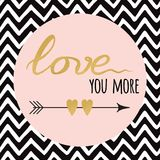 Gold sparkle text Love with arrow on zig zag background. Gold sparkle letters Love with arrow on zig zag background. Modern romantic typography print in golden Royalty Free Stock Photos