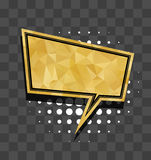 Gold sparkle square comic text balloon Royalty Free Stock Photo