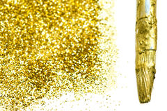 Gold sparkle texture. Abstract Golden glitter background. Gold m Stock Photo