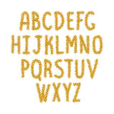 Gold sparkles alphabet, ABC. Gold sparkles alphabet, glitter text, sparkles letters. Golden text for sale present header shop, voucher, gift. Golden alphabet royalty free illustration