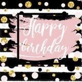 Gold sparkles background Happy Birthday. Stock Image
