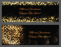 Gold sparkles Banners. Abstract Beauty Merry Christmas and New Y. Ear Background . Vector illustration EPS10 Royalty Free Stock Image