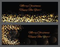 Gold sparkles Banners. Abstract Beauty Merry Christmas and New Y. Ear Background . Vector illustration EPS10 Stock Photos