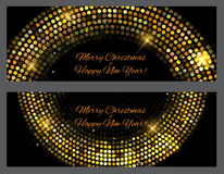 Gold sparkles Banners. Abstract Beauty Merry Christmas and New Y. Ear Background . Vector illustration EPS10 Royalty Free Stock Images