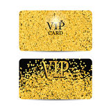 Gold sparkles on black background. Gold VIP card. Stock Photos