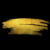 Gold sparkles on black background. Golden glitter Royalty Free Stock Photography