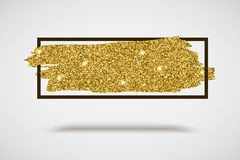 Gold sparkles, glitter background with frame Royalty Free Stock Image