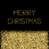 Gold sparkles glitter Merry Christmas text Greeting card Black background Royalty Free Stock Images