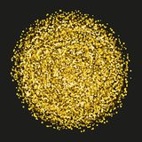 Gold sparkles and glitter powder spray. Sparkling glitter particles explosion on vector black transparent background. Golden star light shining or luxury stock illustration