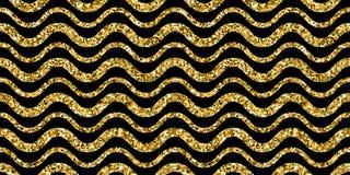 Gold sparkles glitter waves pattern on black background Stock Image