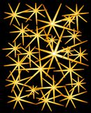 Gold Sparkles Stars on Black. An abstract digital art design illustration on gold stars on a black background Royalty Free Stock Images