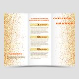 Gold sparkles on white background, banners. Golden background text. Banners logo, web, card, vip, exclusive, certificate. Gold sparkles on white background Stock Image