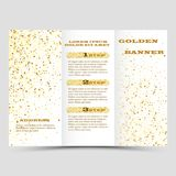 Gold sparkles on white background, banners. Golden background text. Banners logo, web, card, vip, exclusive, certificate. Gold sparkles on white background Royalty Free Stock Image