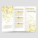 Gold sparkles on white background, banners. Golden background text. Banners logo, web, card, vip, exclusive, certificate. Gold sparkles on white background Royalty Free Stock Photo