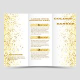 Gold sparkles on white background, banners. Golden background text. Banners logo, web, card, vip, exclusive, certificate. Gold sparkles on white background Stock Images