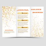 Gold sparkles on white background, banners. Golden background text. Banners logo, web, card, vip, exclusive, certificate. Gold sparkles on white background Stock Photo