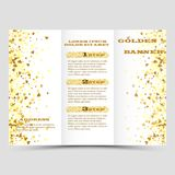 Gold sparkles on white background, banners. Golden background text. Banners logo, web, card, vip, exclusive, certificate. Gold sparkles on white background Royalty Free Stock Images