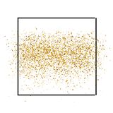 Gold sparkles on white background in frame. Gold glitter background. Golden backdrop for vip and wedding cards. royalty free illustration