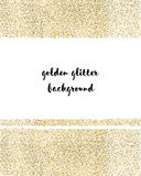Gold sparkles on white background. Gold glitter background. Gold background for card, certificate, gift. Royalty Free Stock Photography