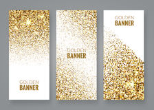 Gold sparkles on white backround, Golden banners. Gold text. Gift, luxury, card, vip, exclusive, certificate, privilege Stock Photo