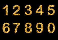 Gold sparkling numbers isolated. Vector illustration Royalty Free Stock Photo